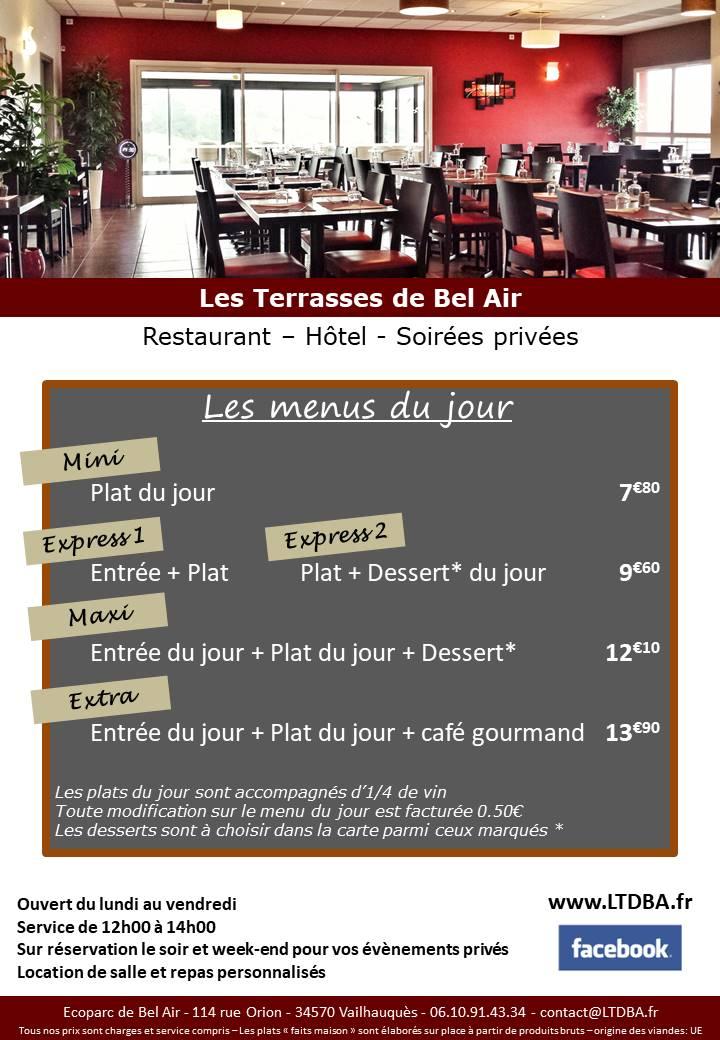 La Carte Les Terrasses De Bel Air