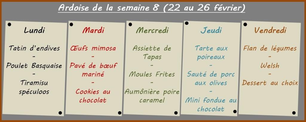 menus semaine 8