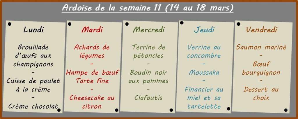 menus semaine 11