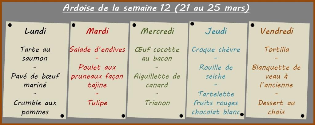 menus semaine 12