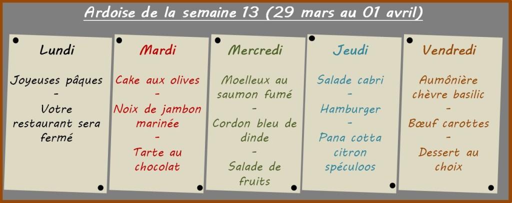 menus semaine 13
