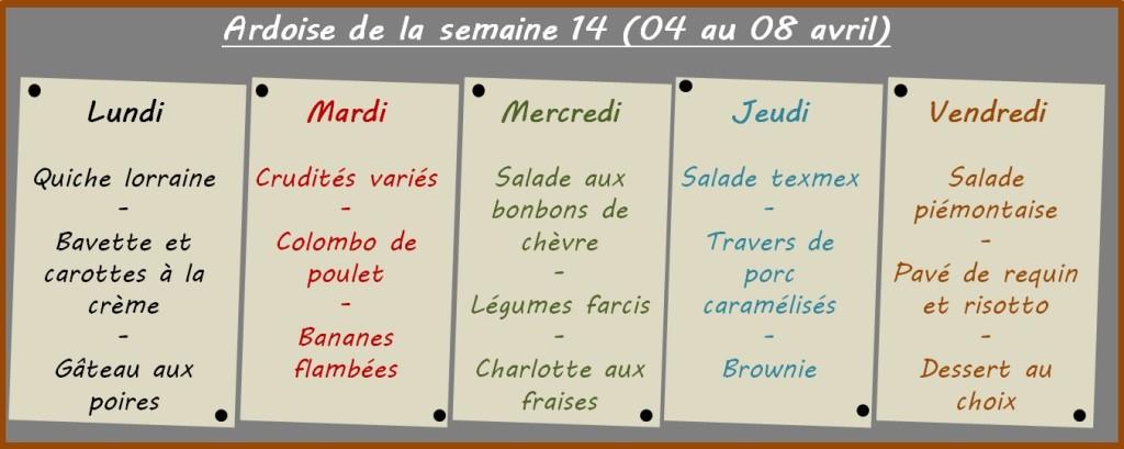 menus semaine 14