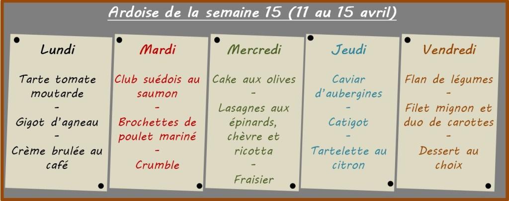 menus semaine 15