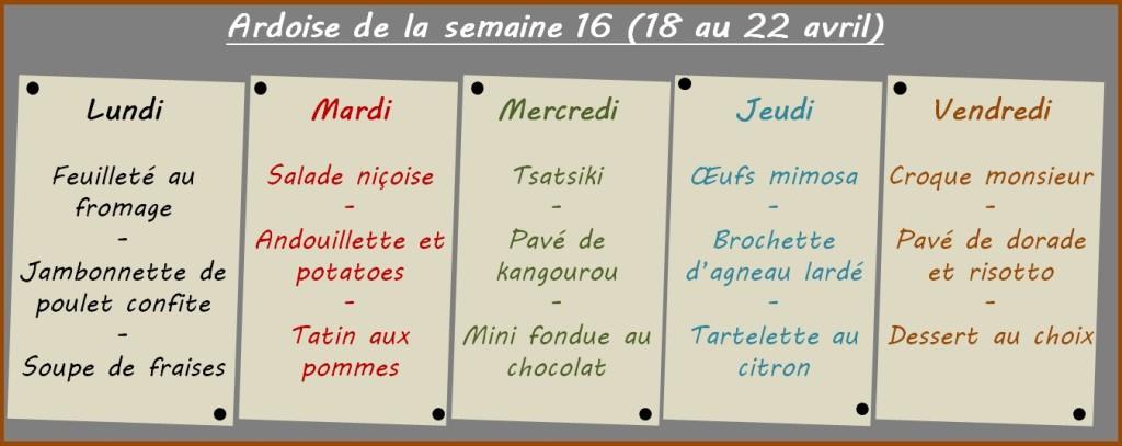 menus semaine 16