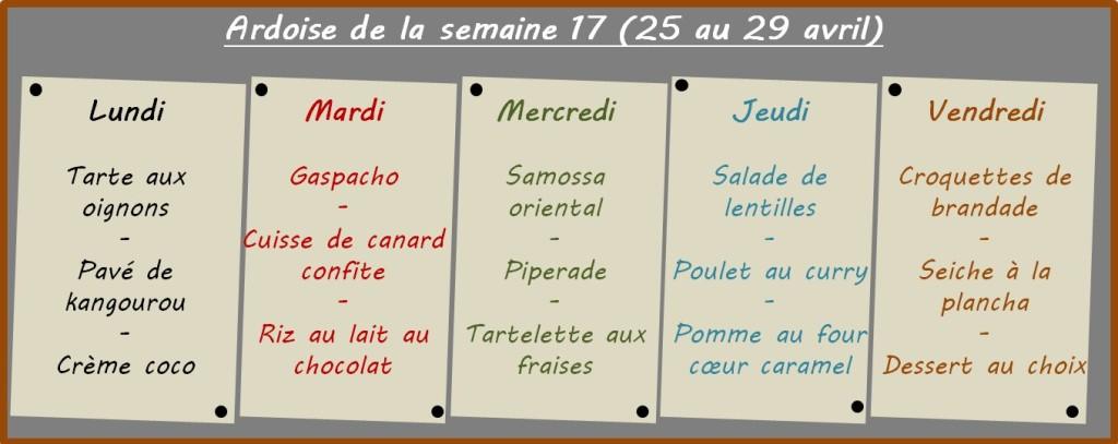 menus semaine 17