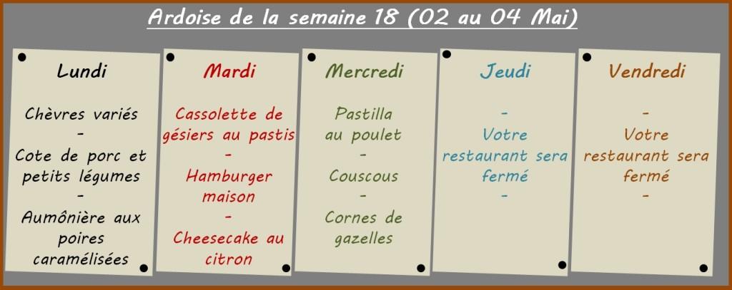 menus semaine 18