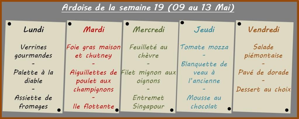 menus semaine 19