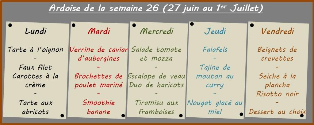 menus semaine 26