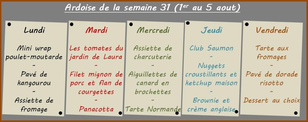 menus semaine 31